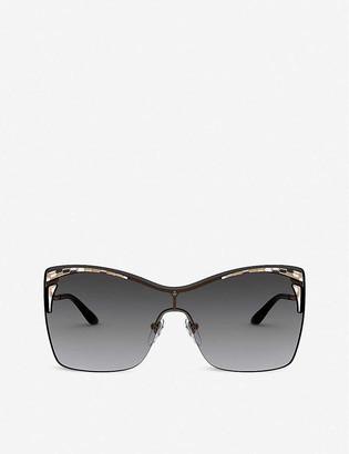 Bvlgari BV6138 Serpenti metal acetate rectangle-frame sunglasses