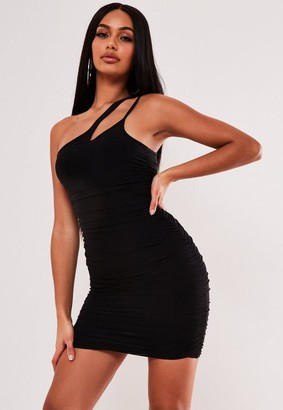 Missguided Black Slinky Asymmetric Strap Mini Dress