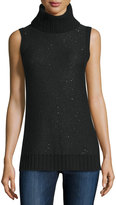 Neiman Marcus Sleeveless Sequin Cashmere Turtleneck