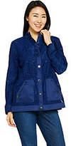 Isaac Mizrahi Live! Floral Burnout Button FrontAnorak Jacket