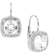 Eliot Danori Earrings, Silver-Tone Framed Cushion Cut Cubic Zirconia Leverback Earrings (6 ct. t.w.)
