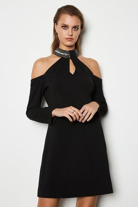 Karen Millen Jewelled Neckline Dress