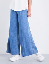 Miharayasuhiro Ladies Blue Unique Wide-Leg High-Rise Jeans