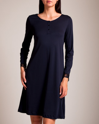 Hanro Flora Long Sleeve Henley Gown