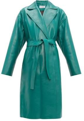 Balenciaga Exaggerated Shoulder Leather Wrap Coat - Womens - Green Multi
