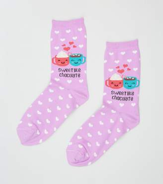 New Look Heart Sweet Like Chocolate Slogan Socks