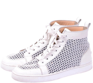 Christian Louboutin White Leather Perforated High Top Sneakers Size 40.5