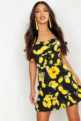 boohoo Off The Shoulder Lemon Print Mini Dress