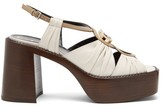 Gucci Ecate Platform Leather Sandals - Womens - White Multi