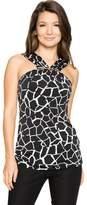 Le Château Women's Abstract Print Knit Halter Top,M