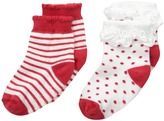 Jefferies Socks Holiday Ruffle Dot/Stripe Socks with Non-Skid 2-Pair Pack (Infant/Toddler)