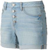 Mudd Juniors' FLX Stretch High-Rise 4-Button Midi Jean Shorts
