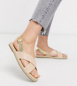 Truffle Collection square toe cross strap espadrille sandal