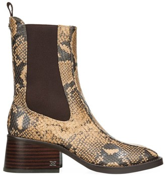 Sam Edelman Dasha Square-Toe Snakeskin-Embossed Leather Chelsea Boots
