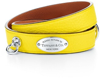 Tiffany & Co. Return to TiffanyTM narrow leather wrap bracelet in yellow with sterling silver - Size Large-extra large