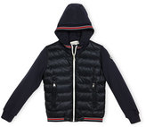 Moncler Tipped Hooded Combo Cardigan, Navy, Size 4-6