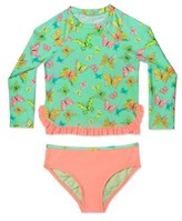 Hula Star Girl's 'Butterfly' Two-Piece Rashguard Swimsuit
