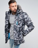 Ellesse Parka Jacket In Camo Print With Reflective Logo
