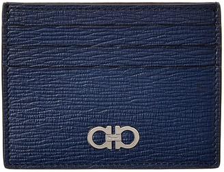 Salvatore Ferragamo Gancio Square Leather Card Holder
