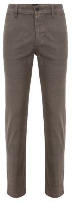 HUGO BOSS Tapered-fit chinos in micro-patterned stretch denim