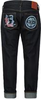 Evisu Slim-fit Carp Embroidered Denim Jeans With Discharge Kanji And Kamon