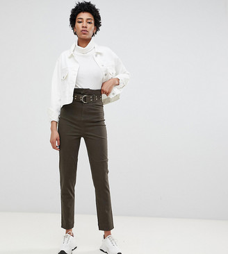Asos Tall DESIGN Tall stevie high waisted peg pants with extra long belt in khaki-Green
