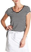 Cable & Gauge Lace Up Back Striped Tee