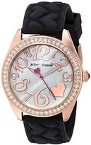 Betsey Johnson Women's Quartz Metal and Silicone Casual Watch, Color:Black (Model: BJ00048-172)