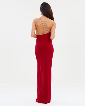 SKIVA - Women's Red Formal Dresses - Embellished One Shoulder Evening Dress - Size One Size, 8 at The Iconic