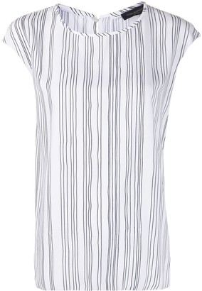 Piazza Sempione Striped-Print Short-Sleeved Blouse