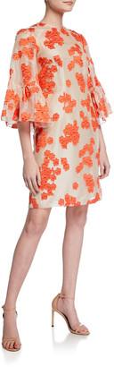 Lela Rose Floral-Embroidered Flutter-Sleeve Tunic Dress