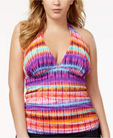 Bleu by Rod Beattie Plus Size Dream Weavers Tummy-Control Halter Tankini Top Women's Swimsuit