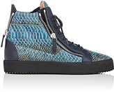 Giuseppe Zanotti Men's Stamped Leather Double-Zip High-Top Sneakers-BLUE, DARK GREEN, GOLD