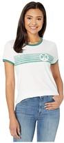 Lucky Brand Short Sleeve Crew Neck Clover Stripes Tee (Lucky White) Women's Clothing