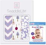 Swaddle Designs SwaddleLite, Set of 3 Marquisette Swaddle Blankets, Premium Cotton Muslin, and The Happiest Baby DVD Bundle, Lavender Lush Lite