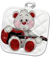 3dRose Anne Marie Baugh - Illustrations - Cute Red and White Bear With A Guitar Illustration - 8x8 Potholder (phl_265006_1)