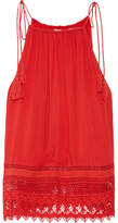 Alice + Olivia Danya Lace-trimmed Crepon Camisole - Red