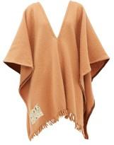 Albus Lumen - V-neck Fringed Merino-wool Poncho - Womens - Camel