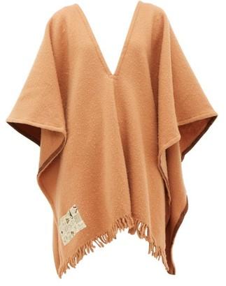 ALBUS LUMEN V-neck Fringed Merino-wool Poncho - Womens - Camel