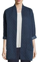 Eileen Fisher Jacquard Denim Long Jacket, Indigo, Plus Size