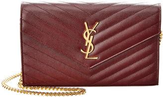 Saint Laurent Medium Monogram Matelasse Leather Wallet On Chain