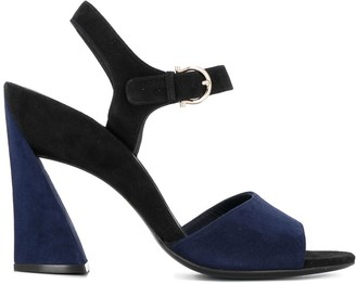 Salvatore Ferragamo Sculpted Heel Ankle Strap Sandals