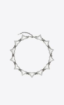 Saint Laurent Short Necklaces Multi-heart Necklace In Brass Oxidized Silver Onesize