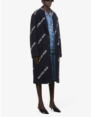 Balenciaga Logo-print wool, cashmere and silk-blend coat