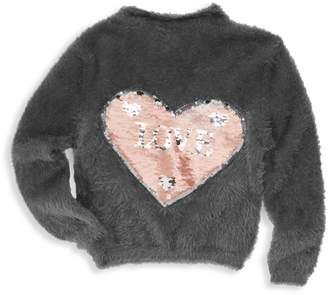 Imoga Little Girl's & Girl's Dallas Shaggy Sequin Sweater