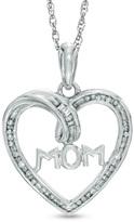 """Zales Diamond Accent """"MOM"""" Heart Pendant in Sterling Silver"""