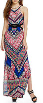 Moa Moa Printed Keyhole-Waist Maxi Dress