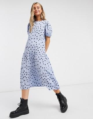 Influence tiered polka dot midi dress in cornflower blue