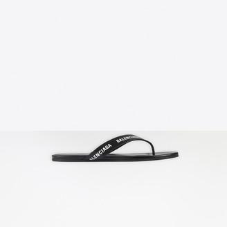 Balenciaga Allover Logo Round Thong Sandal