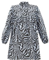 Ganni Zebra-print Pintucked Cotton Smock Dress - Womens - Blue Multi